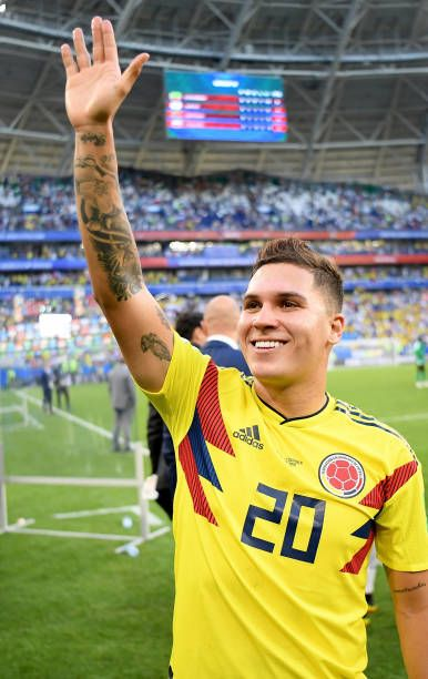 a64dda57eac Juan Quintero of Colombia celebrates following his sides victory in the 2018  FIFA World Cup Russia group H match between Senegal and Colombia at.