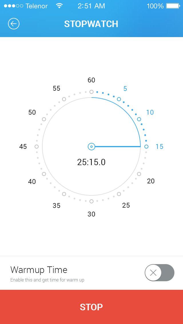 스탑워치를 시계형상으로 표현한것을 응용하여 스마트홈 제품 어플디자인때에 시간에 따른 온도의 변화나 습도 등 다양하게 응용할수 있을 것으로 생각된다