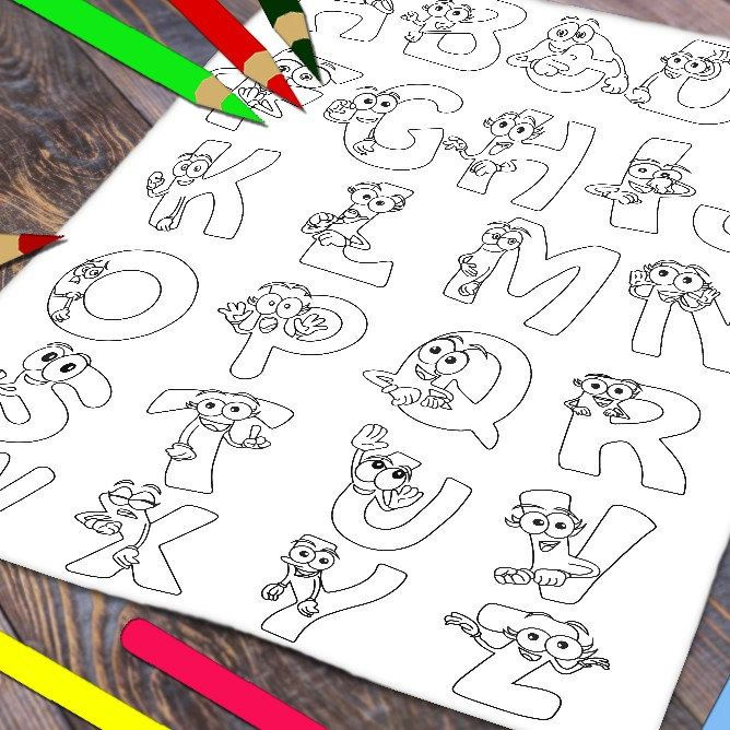 Funny Abc Coloring Page Preschool Printable Games Kids Etsy In 2021 Abc Coloring Pages Abc Coloring Coloring Bookmarks