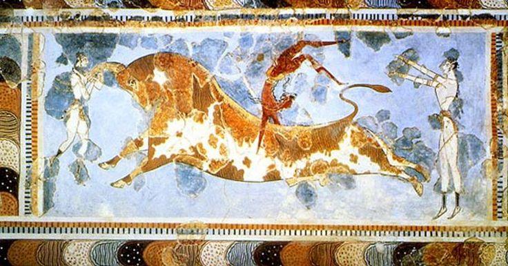 The Toreador Fresco Knossos Palace C.1500 Bc Crete Greece Stock ...