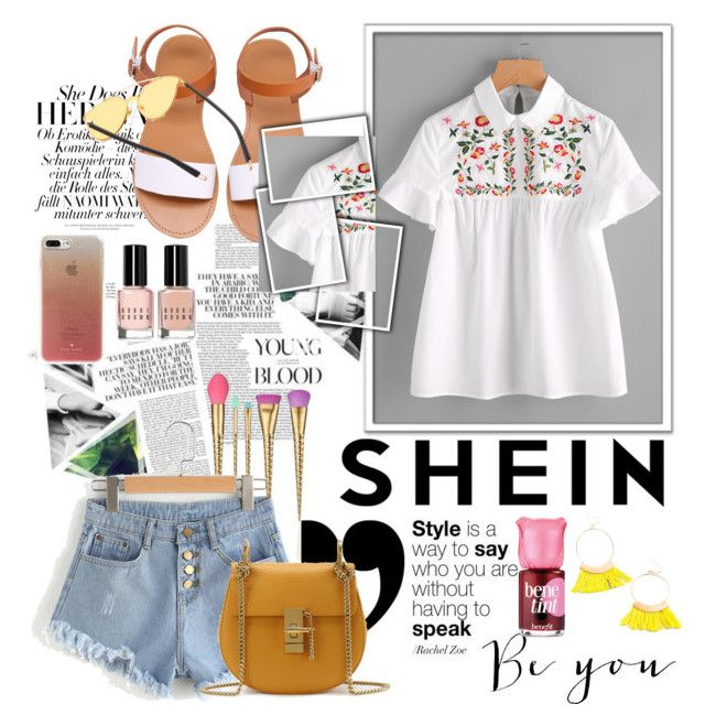 """SHEIN - Embroidered Yoke Buttoned Keyhole Frill Sleeve Smock Top"" by miss-maca ❤ liked on Polyvore featuring tarte, Benefit, Bobbi Brown Cosmetics and Kate Spade"