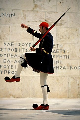 Greece, Athens, Evzone on guard, Parliament building