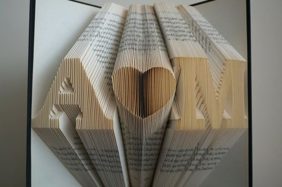 This book sculpture is great as a gift of valentine, anniversary and wedding. It is created by folding pages of recycled book with patience and accurateness.  Please leave a message in the note to seller box to let me know the initials you would like for this book sculpture at the time of purchase.  This book sculpture is a Made to Order. Please see the shop announcement https://www.etsy.com/uk/shop/BookArt88 for current turnaround time. Thank you