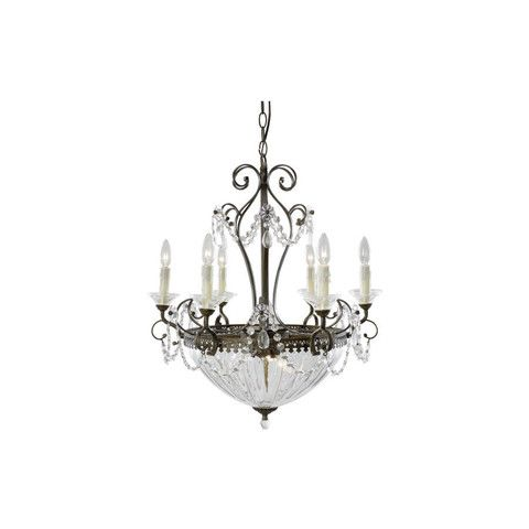 Trans Globe Lighting 90985 Nine Light Crystal Chandelier in Aged Bronze Finish | Quality Discount Lighting | wholesale clearance cheap lights fixtures