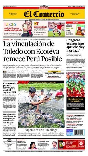 SÁBADO 15 de JUNIO de 2013  (PORTADA DE EL COMERCIO)