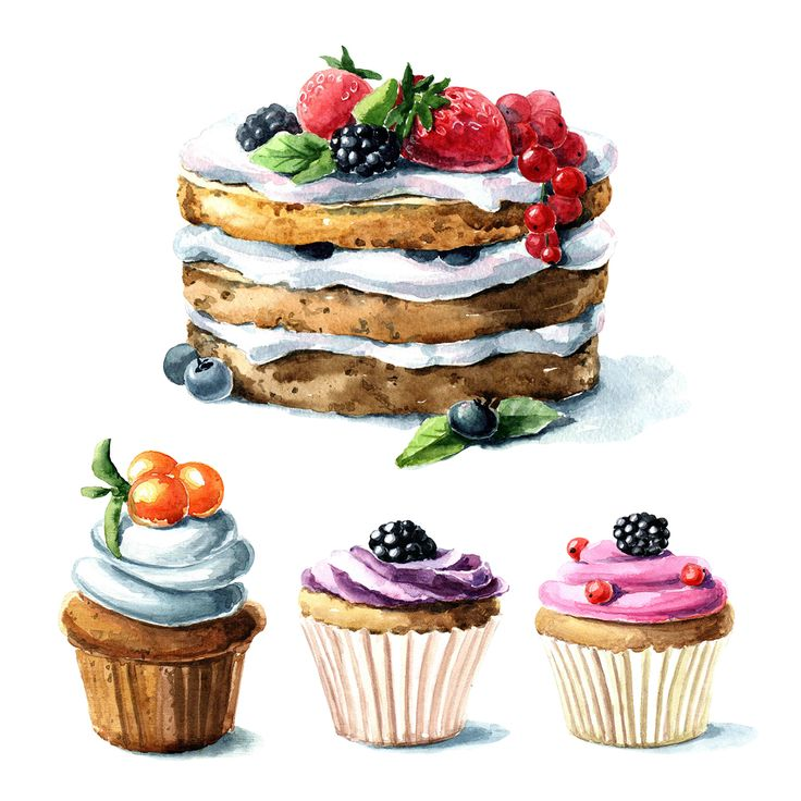 Watercolor Berry Dessert on Behance | cakes watercolor illustration | food, deserts.