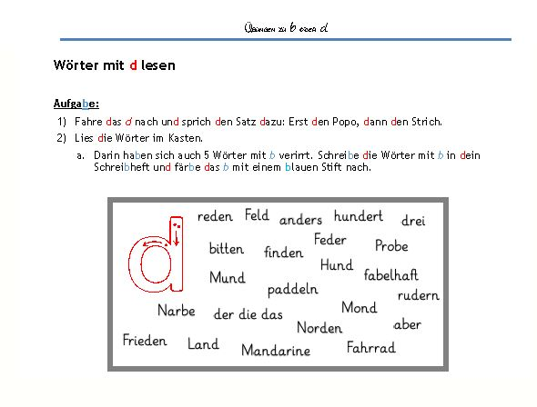 Aufmerksamkeitstraining in Deutsch, Verwechseln von Buchstaben, b oder d, Übungen zu b oder d