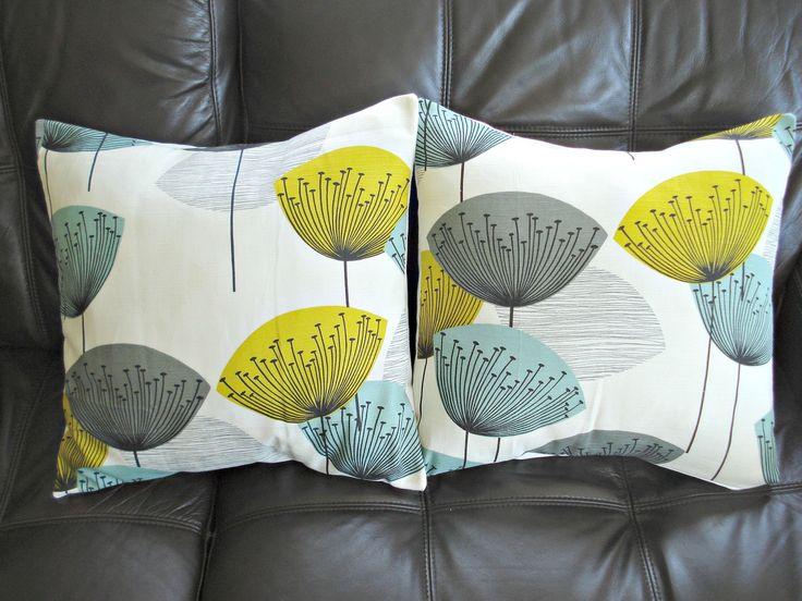 Throw pillow yellow teal blue grey gray black dandelion clock design cushion shams UK designer fabric Two 18 inch