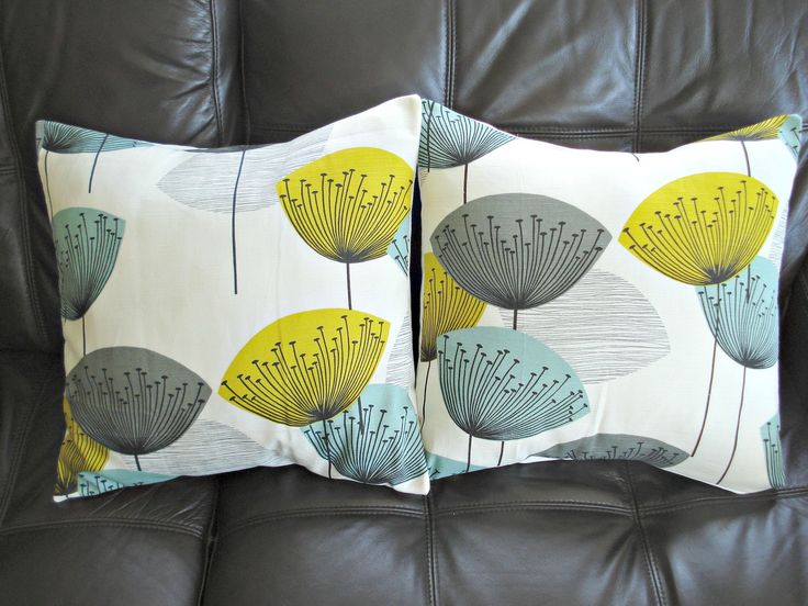 Throw pillow yellow teal blue grey gray black dandelion clock design cushion shams UK designer fabric Two 18 inch