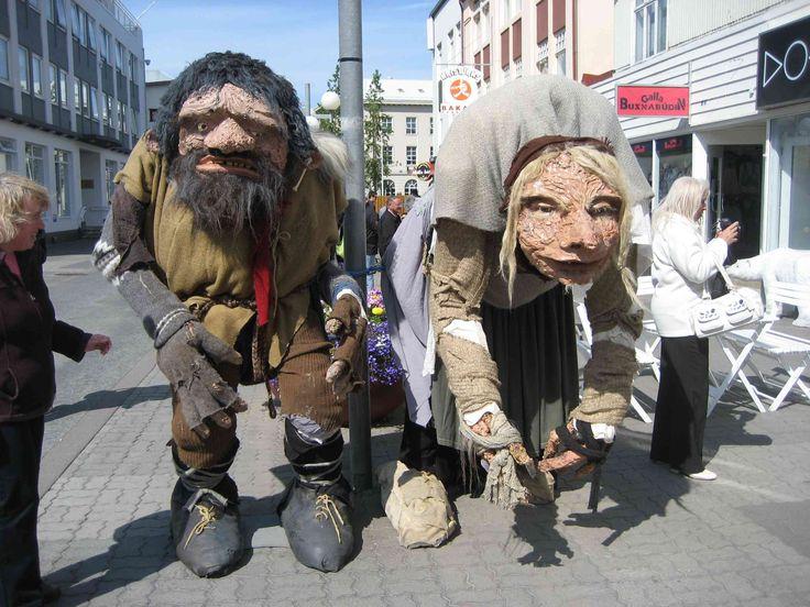 folklore figures on the main street of Akureyri, Iceland