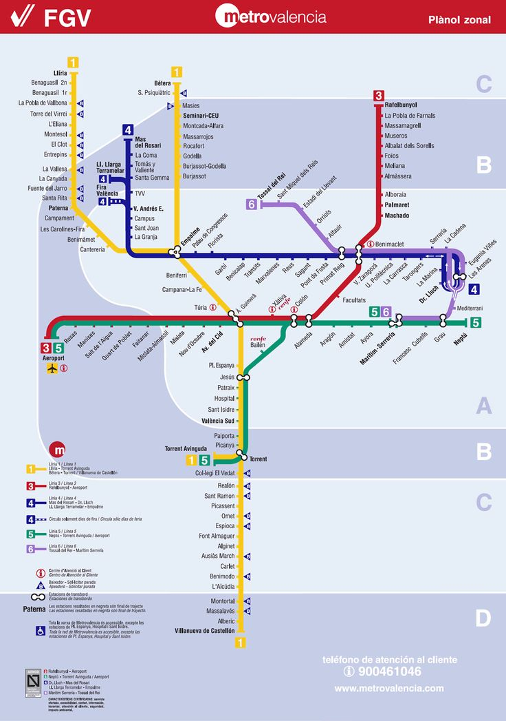 Valencia Metro Map: Map of the Underground System in Valencia, Spain