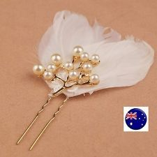 Women Bride Wedding White Feather Race Melbourne Cup Hair Clip Pin Fascinator