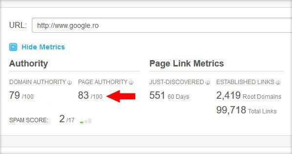 - Ce este autoritatea unei pagini web de internet? Autoritatea unei pagini(Page Authority - PA)este un indicator calculat de MOZla nivelul unei singure pagini web şi este parte componentă a autorităţii întregului domeniu. Autoritatea unei pagini diferă de autoritatea domeniului şi ...