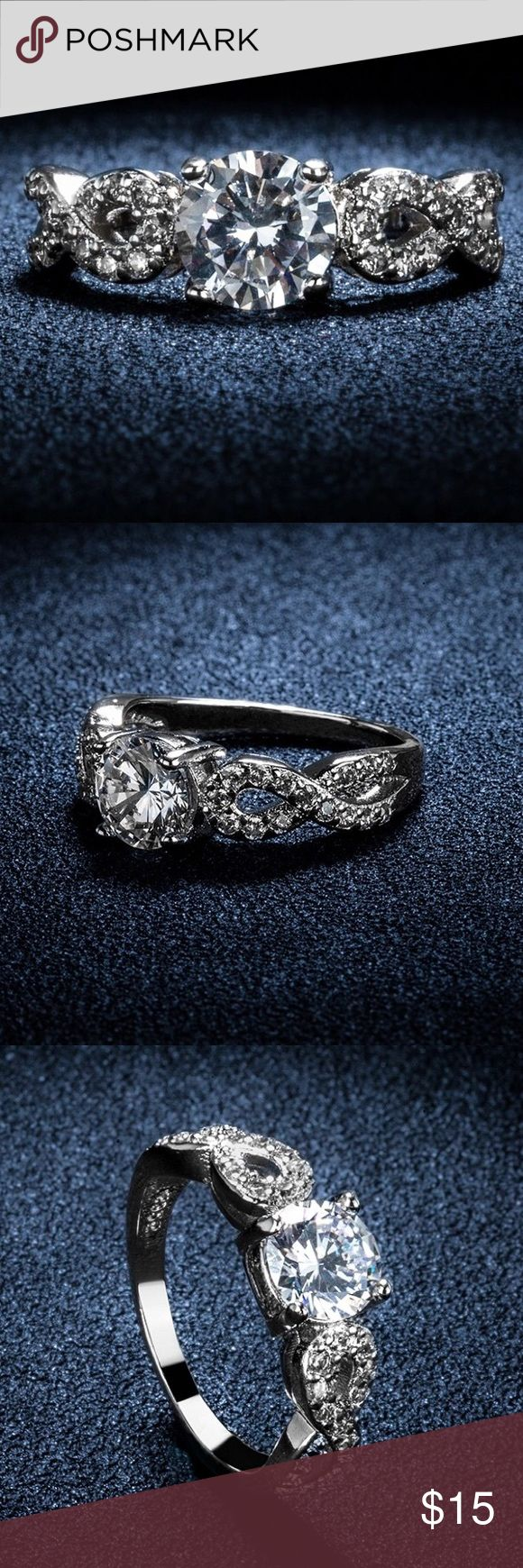 Stylish ring size 7! Big heartstone 3 Carat AAA cz diamond jewelry engagement wedding rings For women white gold plated! Occasion:Daily Wear,Wedding,Party,Engagement •30% silver • with a small box  Price is firm! Happy shopping y'all! Jewelry Rings