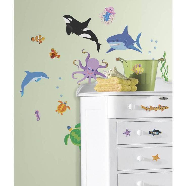 Meubel, Wand-, decoratiestickers. Oceaan leven, Herbruikbare decoratie stickers kinderkamer nemo muurstickers wand klevers met vissen