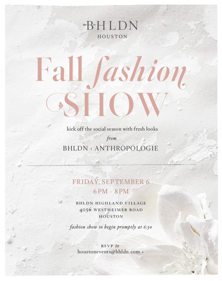 Join us on September 6th, from 6-8PM, for a fall fashion show with Anthropologie in our Houston store. Kick off the social season with fresh looks! RSVP by emailing houstonevents@bhldn.com