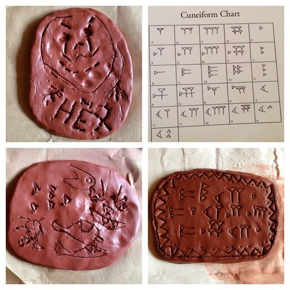 Egypt Studies: Making Cuneiform Tablets Out of Clay/Playdough (from Our Homeschool Fun)