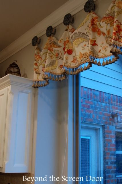 A Valance to Bring Color to a Gray & White Kitchen | Beyond the Screen Door