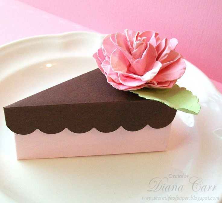 A Slice of Cake - Party Favor Box -  Pink and Chocolate