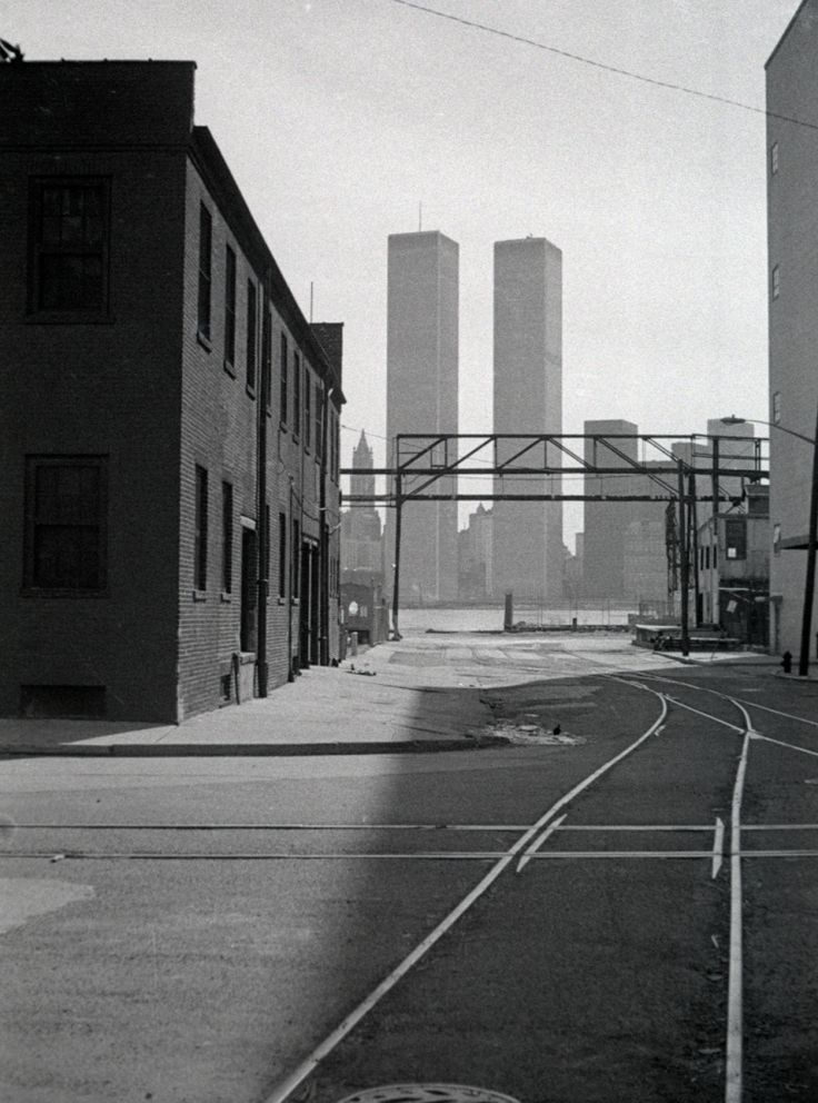 World Trade Center in New York seen from Jersey City, 1975