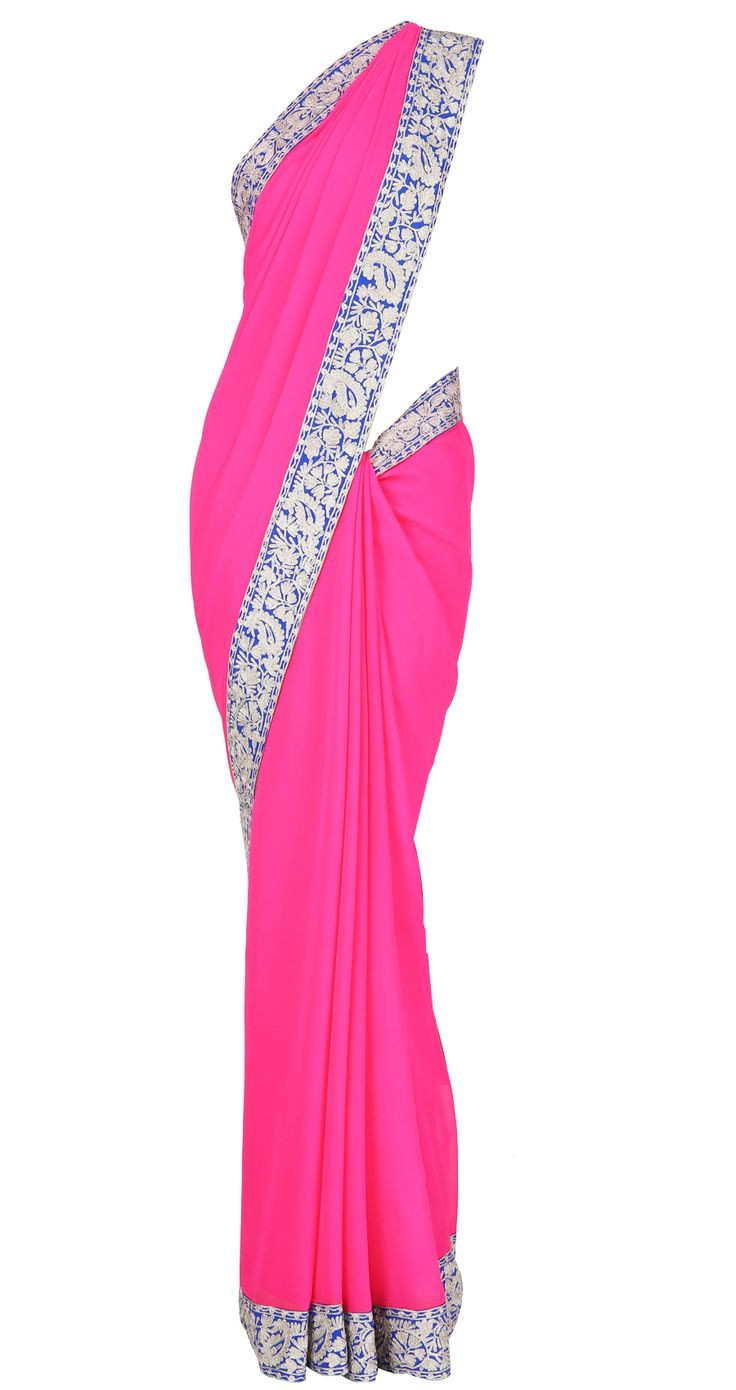 Pink georgette Sari with royal blue and dull gold border lined with neon green and golu's by MANISH MALHOTRA.