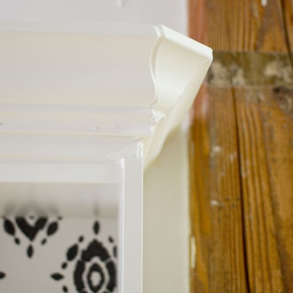 Ikea hack: adding beveled crown moulding to Billy bookcases