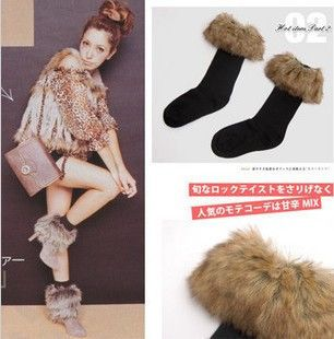 3.99$=Japan style women's Classic long-haired fur roll up hem snow autumn and winter sock fur socks knee-high socks female US $3.99