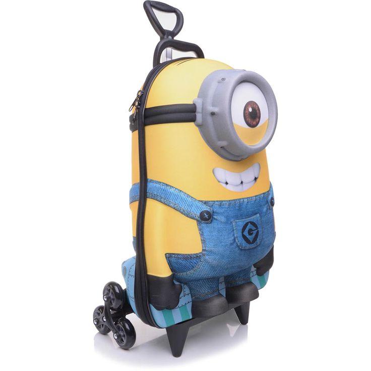 Mochila de Rodinhas Infantil Max Toy Minnion Stuart Amarela