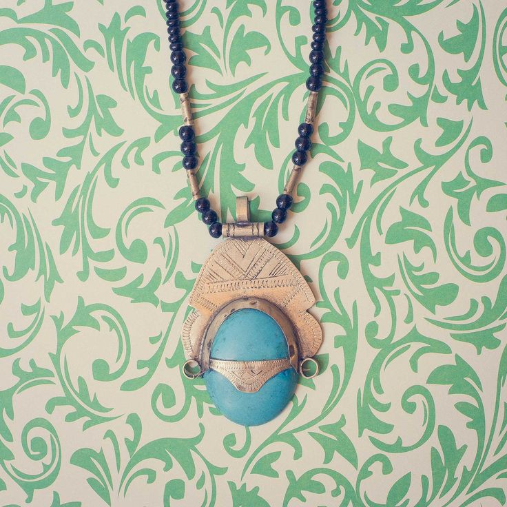 wAXAw - Tuareg Necklace, Sahara - Pulp Turquoise The Tuareg are Berber people with a traditionally nomadic pastoralist lifestyle. They are the principal inhabitants of the Saharan interior of North Africa.