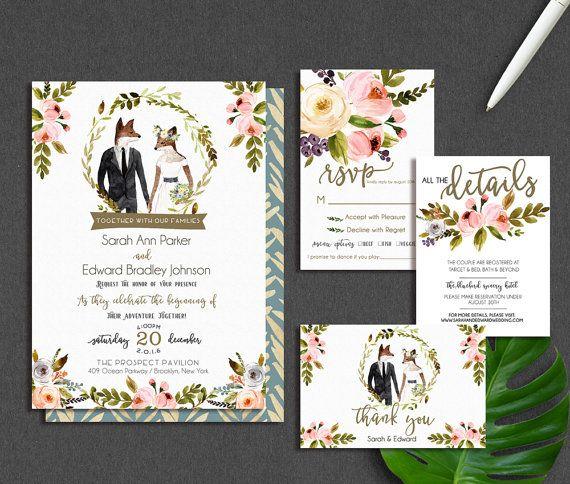 Winter Wedding Invitation, Vintage Wedding Invitation, Rustic Wedding Invite,  Fox Wedding, Illustration