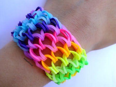 Pulsera de gomitas Escamas de dragón SIN TELAR / Dragon scale cuff bracelet NO LOOM