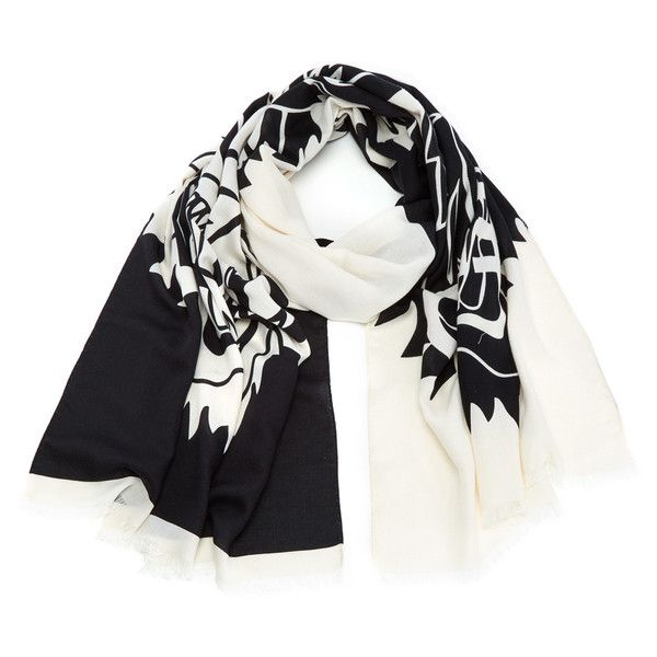 KENZO Modal Tiger Chest Icon Scarf - White/Black ($160) ❤ liked on Polyvore featuring accessories, scarves, kenzo, black and white scarves, black and white shawl and kenzo scarves