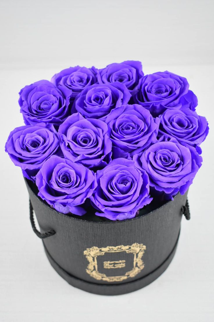 A black modern box with 12 stems of purple everlasting