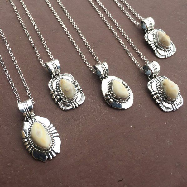 Beautiful Sterling Silver Elk Ivory Necklace with Twist & Stamp Detail | SUNFACE TRADERS