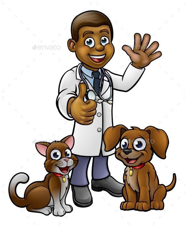 Vet With Pet Cat And Dog Cartoon Characters Cartoon Dog Pets Cats Pet Vet