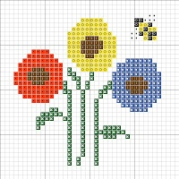 Cross Stitch Happy: Three Flowers Chart