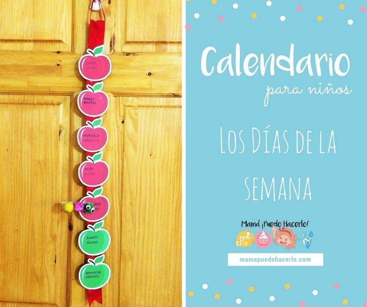 Calendario para niños los días de la semana | Weekdays Calendar for kids