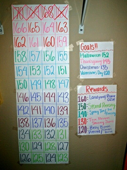I need something like this for motivation. I have goals and I keep track of my weight, but its always nice to have something you can touch versus having a chart on my computer. // I'm going to make this but with more pounds between each goal, like three pounds at a time or something