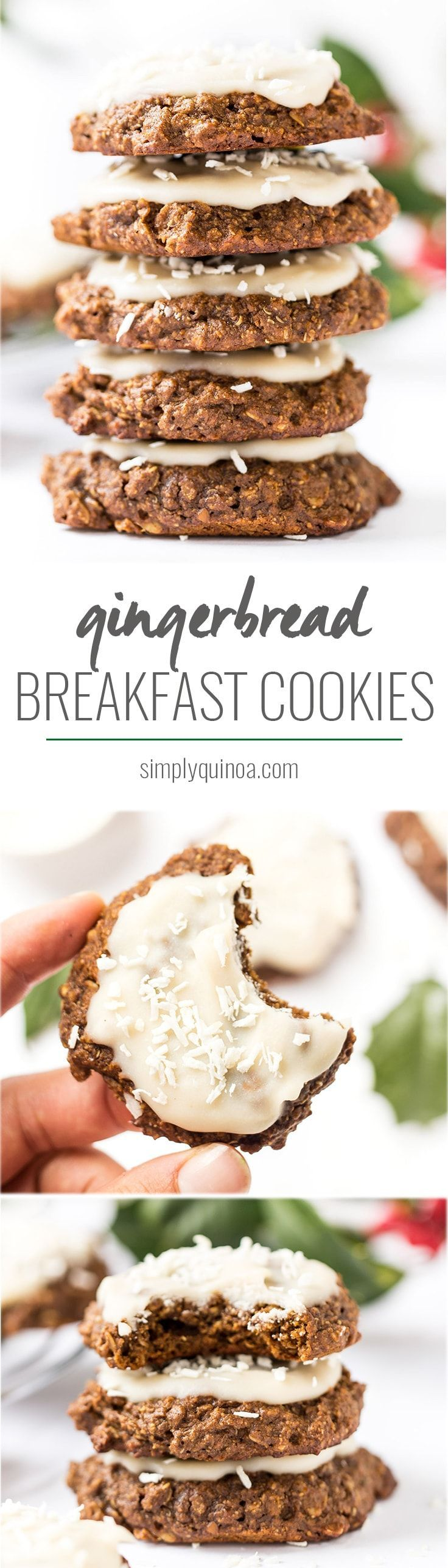 These INCREDIBLE Gingerbread Quinoa Breakfast Cookies has a base of oats, quinoa and banana, but has all the flavors of classic gingerbread. And they're HEALTHY too! [vegan + gf]