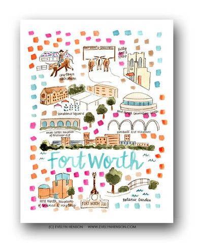Fort Worth, TX Map Print – Evelyn Henson