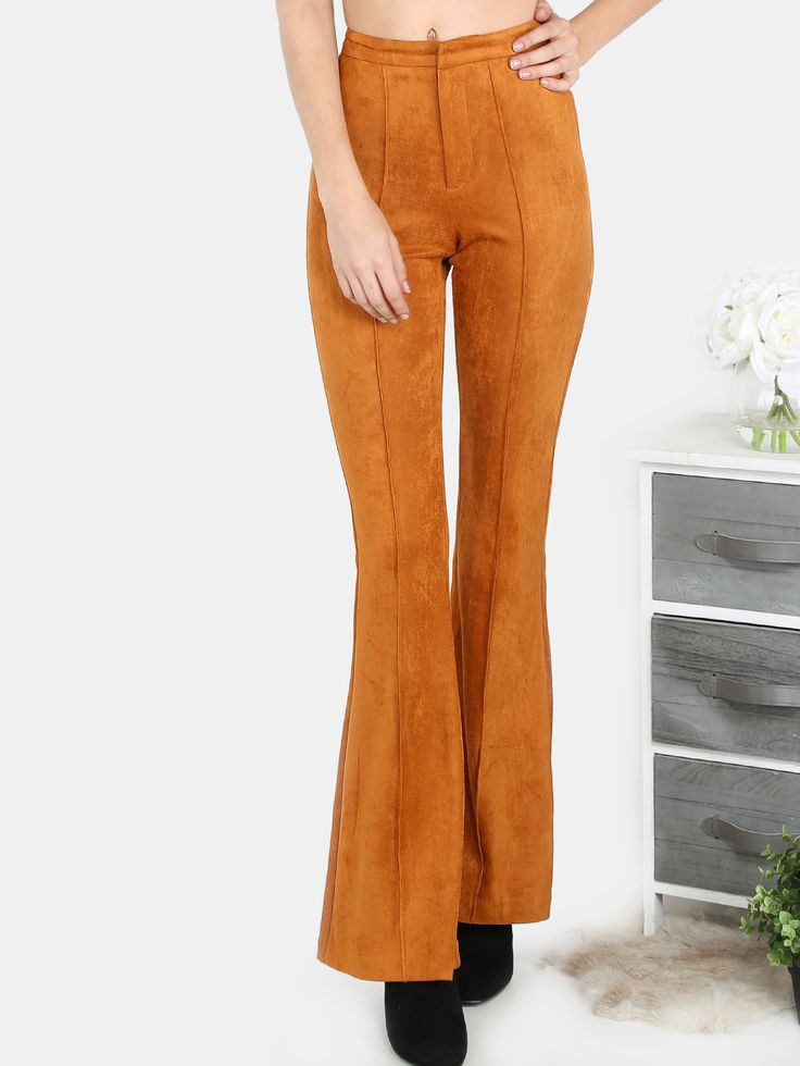 Shop High Waisted Suede Bell Bottom Flare Pants RUST online. SheIn offers High Waisted Suede Bell Bottom Flare Pants RUST & more to fit your fashionable needs.
