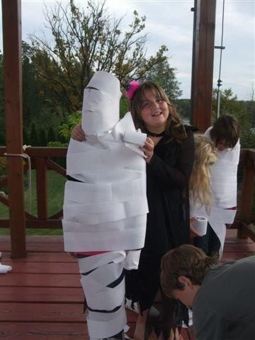A great party game is to to wrap each other as a mummy with toilet paper. A very funny game and kids love it! https://www.youtube.com/watch?v=jIqqMAMqbK8