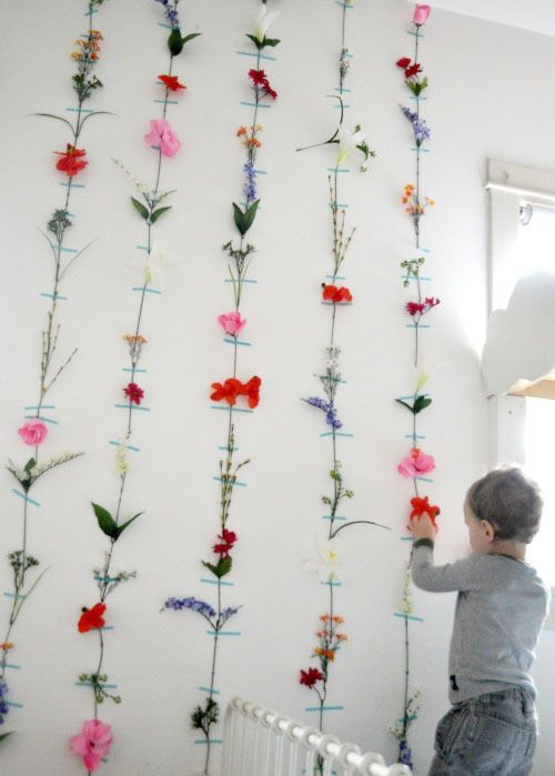 Love the 3D look with flowers on the wall.