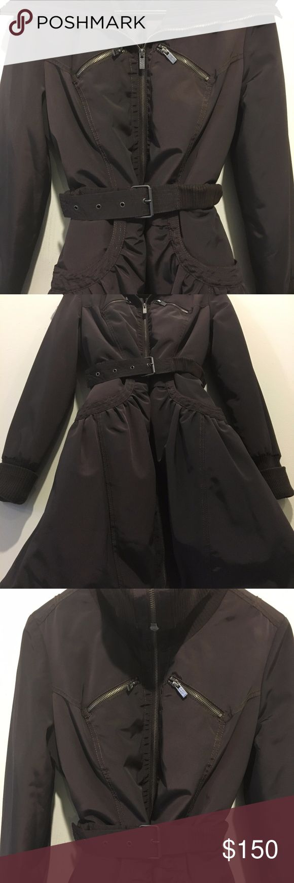 DKNY Active Women Winter Jacket/Coat Never Worn Beautiful chocolate brown color. Extremely flattering silhouette -- you can wear it with the provided belt for more fitted shape or without one for a looser look (see pix). Great collar, again can be worn in different ways like on the pix. Good quality/high end zippers and detailing around pockets/cuffs, etc. Perfect Condition. Never Worn.  Originally purchased for $209. Selling for $150. THANKS! DKNY Active Jackets & Coats Puffers