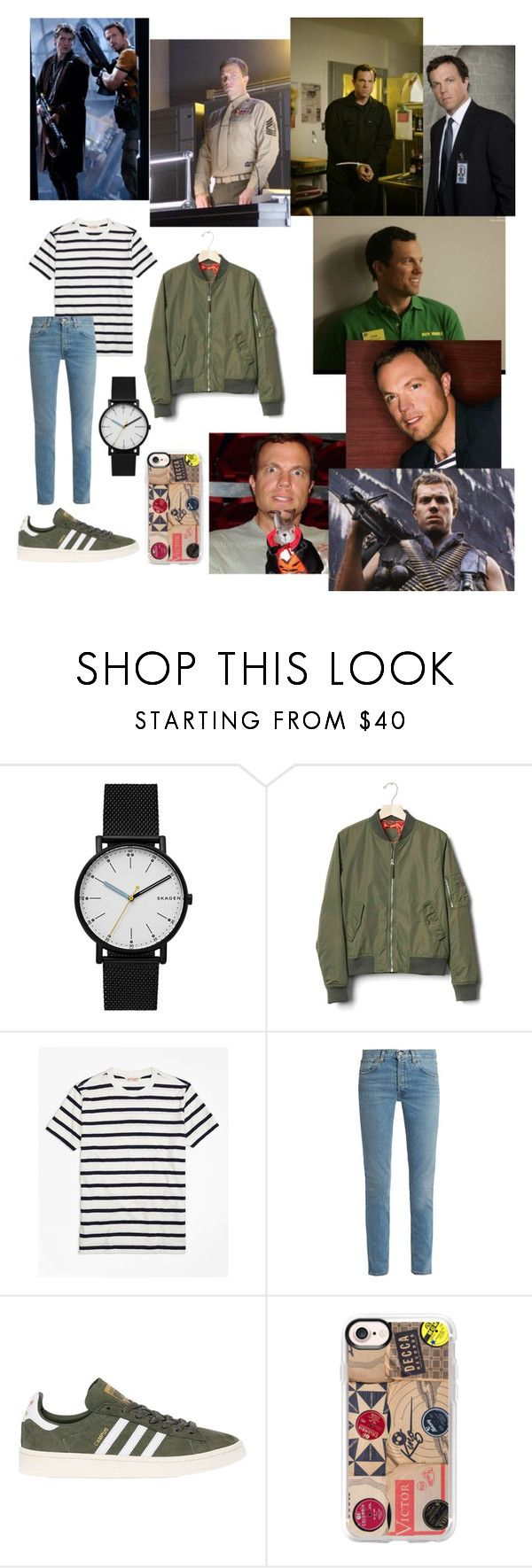 """""""Literally Just Because I Love Adam Baldwin"""" by avengersfreak ❤ liked on Polyvore featuring ADAM, Skagen, Gap, Brooks Brothers, RE/DONE, adidas Originals and Casetify"""