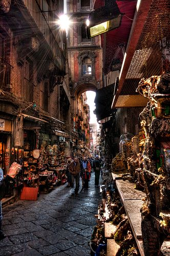 The world-famous nativity street in Naples, where you can buy exquisite hand-made figurines for your nativity scene.