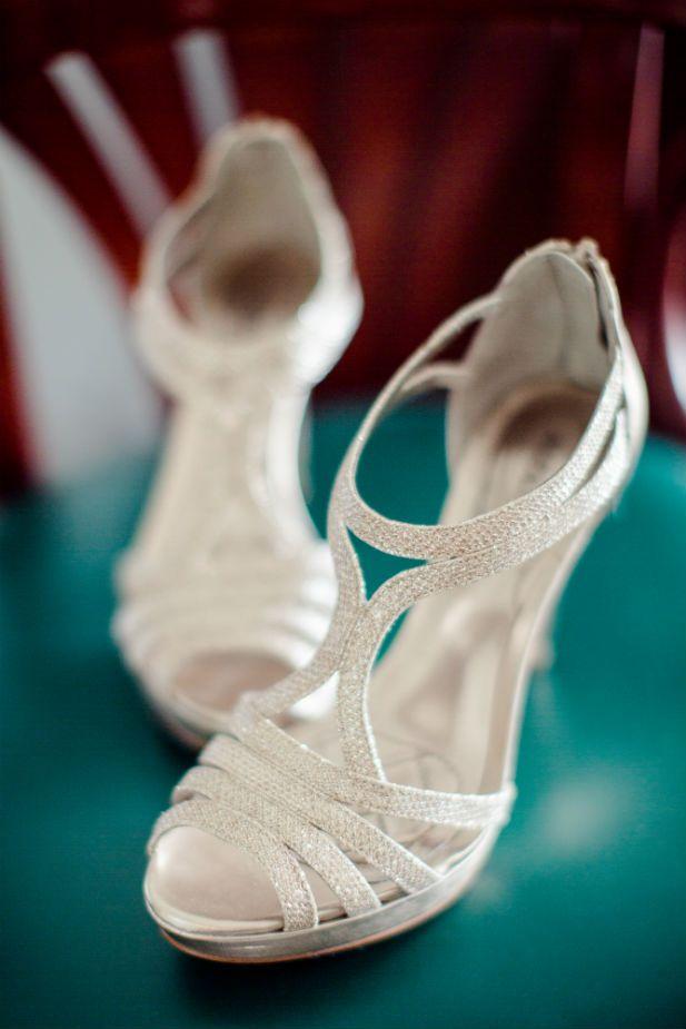 Strappy silver wedding heels (Freeland Photography LLC)