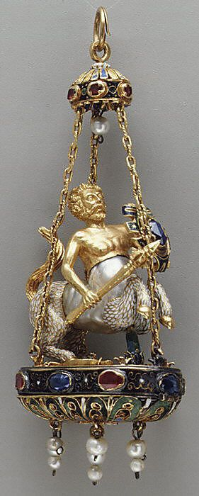 Pendant in the form of a centaur  Date: late 16th–early 17th century Culture: possibly Spanish Medium: Baroque pearl with enameled gold mounts set with sapphires and rubies, and with pendent pearls