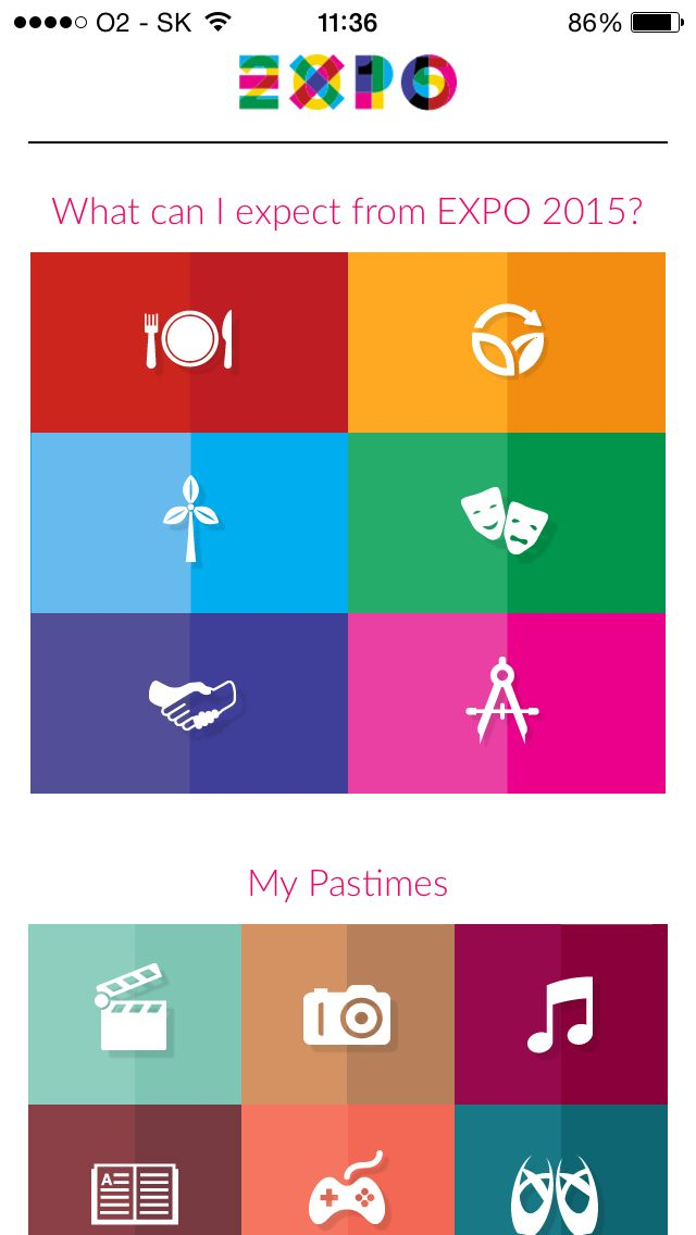 Expo 2014, Menu, Select, icons, iPhone