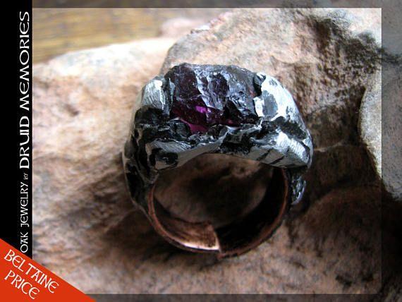 Rhodolite mens or womens ring Laadah Rule raw